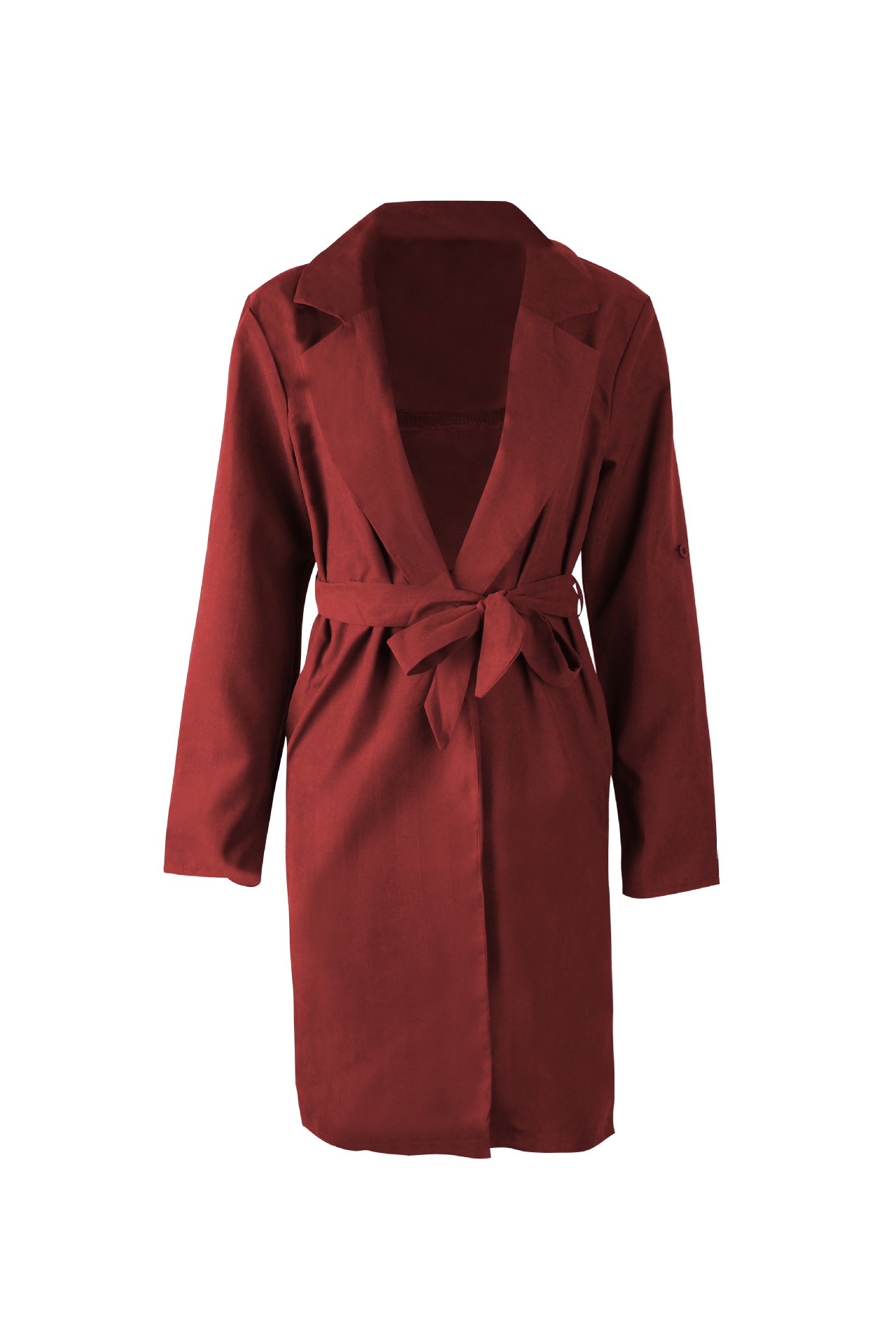 Women Trench Coat Autumn Turn down Collar Long Sleeve Side Split Belted Casual Long Jacket Outerwear crimson