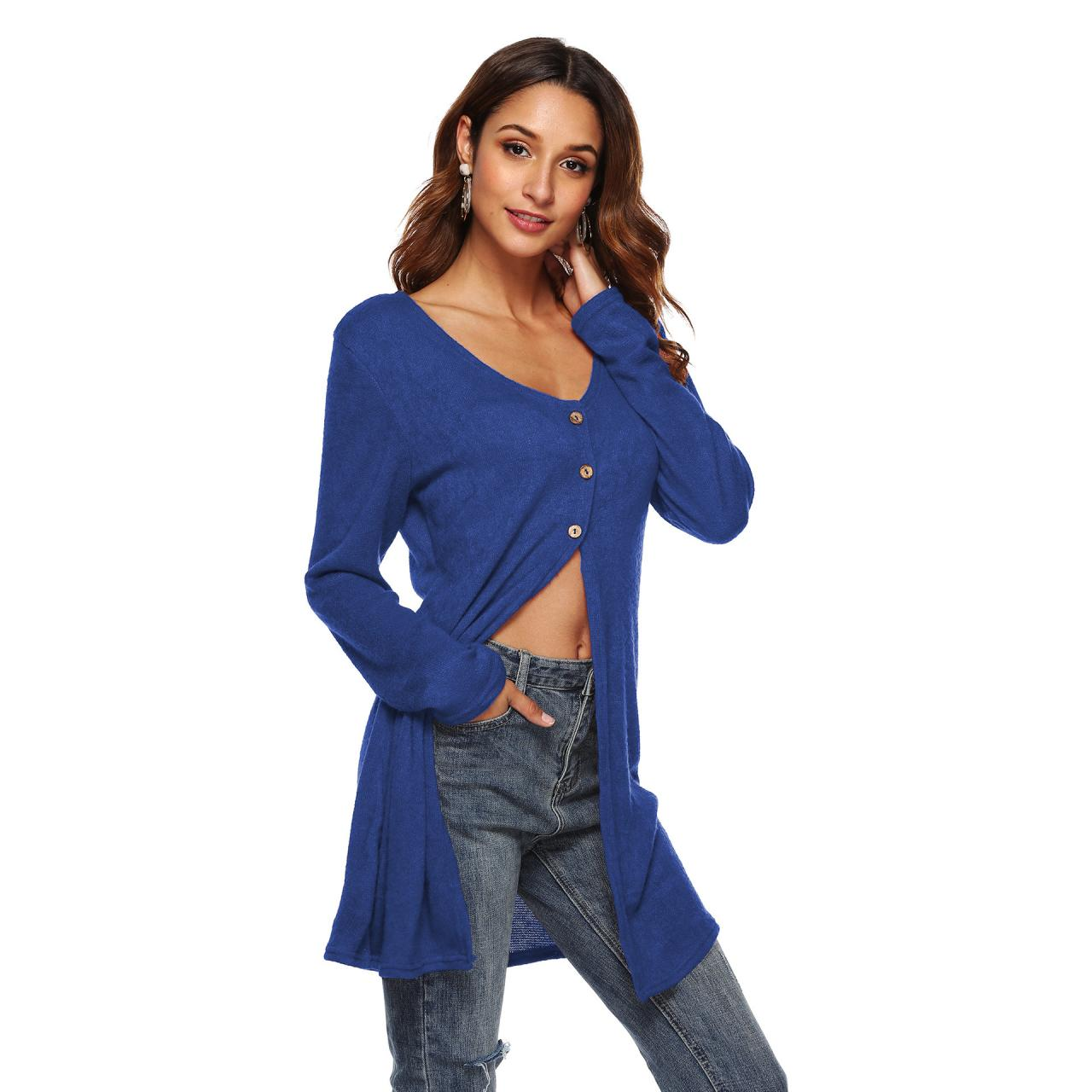 Women Long Sleeve T-Shirt Autumn Asymmetrical High Split Button Casual Long Cardigan Coat Outerwear blue