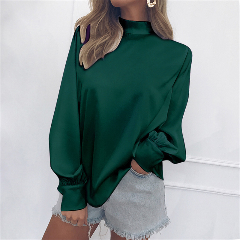 Women Blouse Autumn Turtleneck Lantern Long Sleeve Solid Casual Loose Office Tops Shirt green