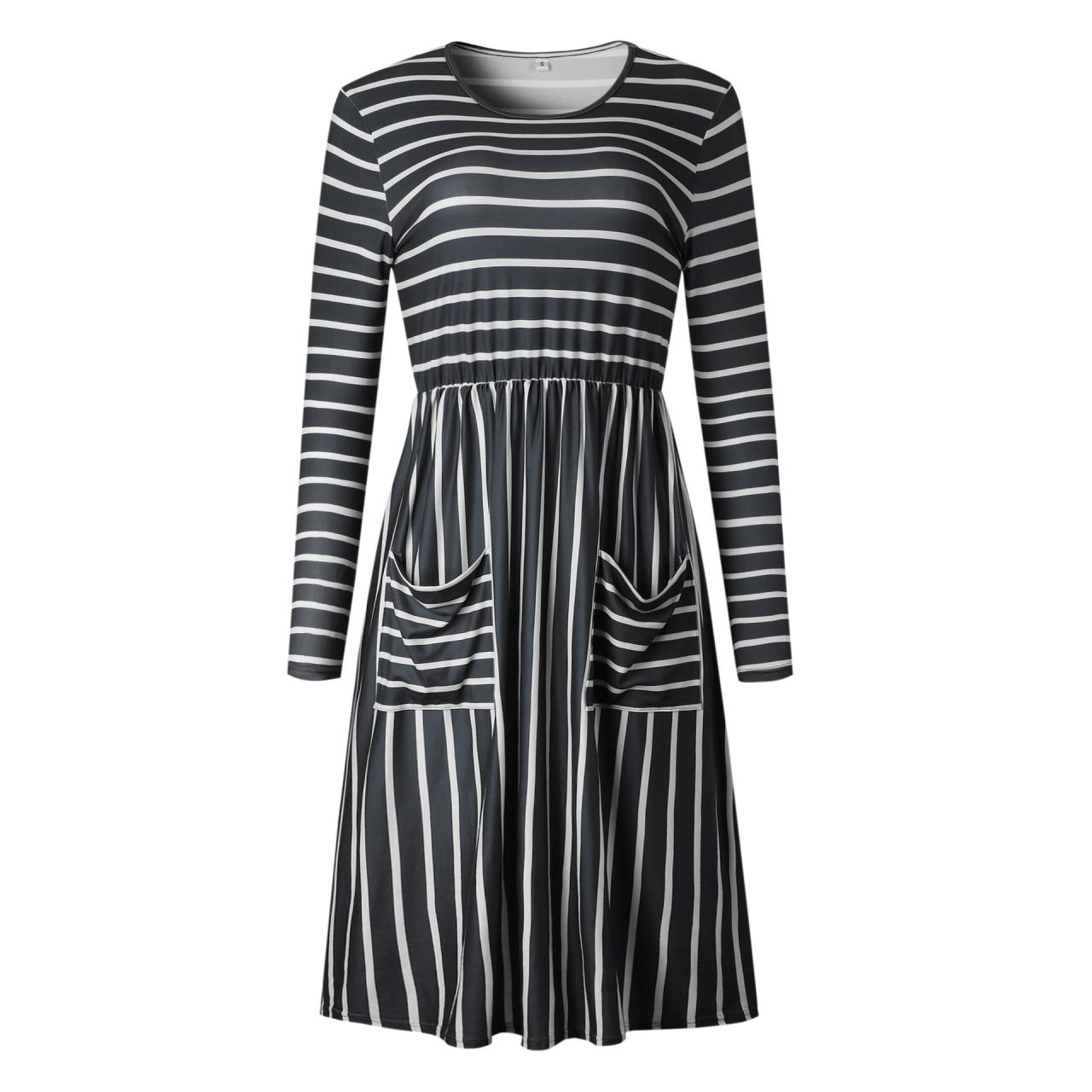 Women Casual Dress Autumn Long Sleeve Pocket Tie Streetwear Loose Striped/Floral Printed Midi Party Dress 100086-black