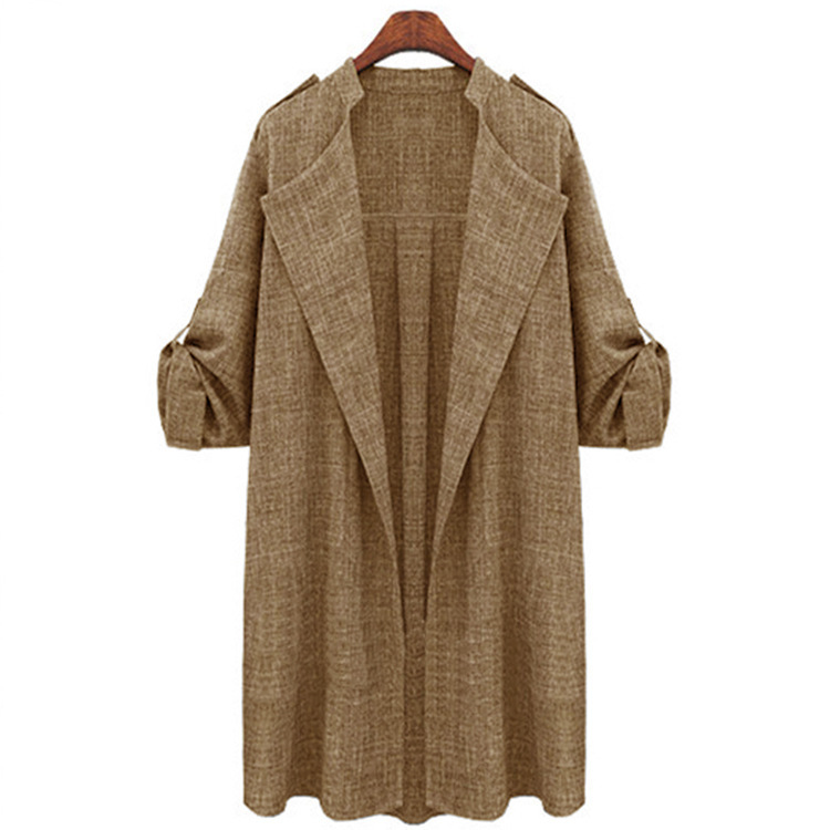 Women Trench Coat Spring Autumn Long Sleeve Plus Size Slim Windbreaker Open Stitch Cardigan Jacket camel
