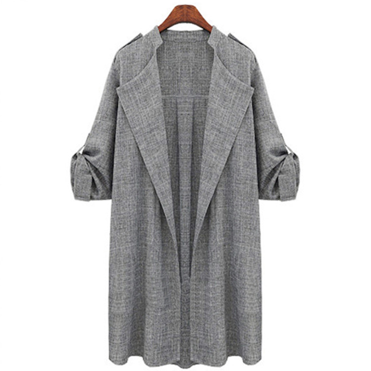 Women Trench Coat Spring Autumn Long Sleeve Plus Size Slim Windbreaker Open Stitch Cardigan Jacket light gray