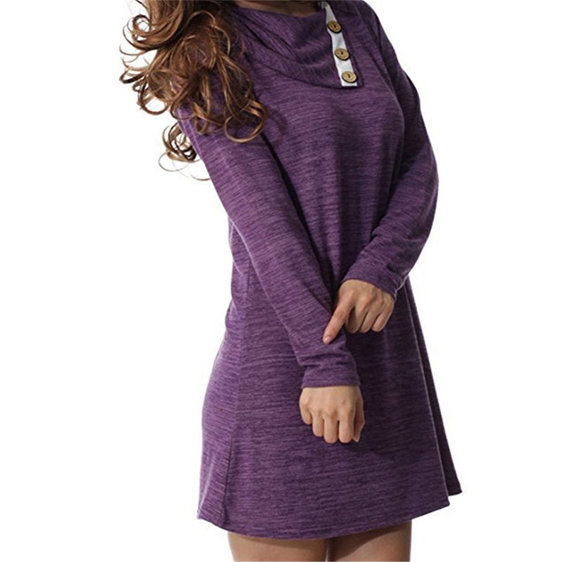 Women Mini Dress Autumn Winter Asymmetrical Neck Long Sleeve Causal Loose Button T Shirt Dress purple