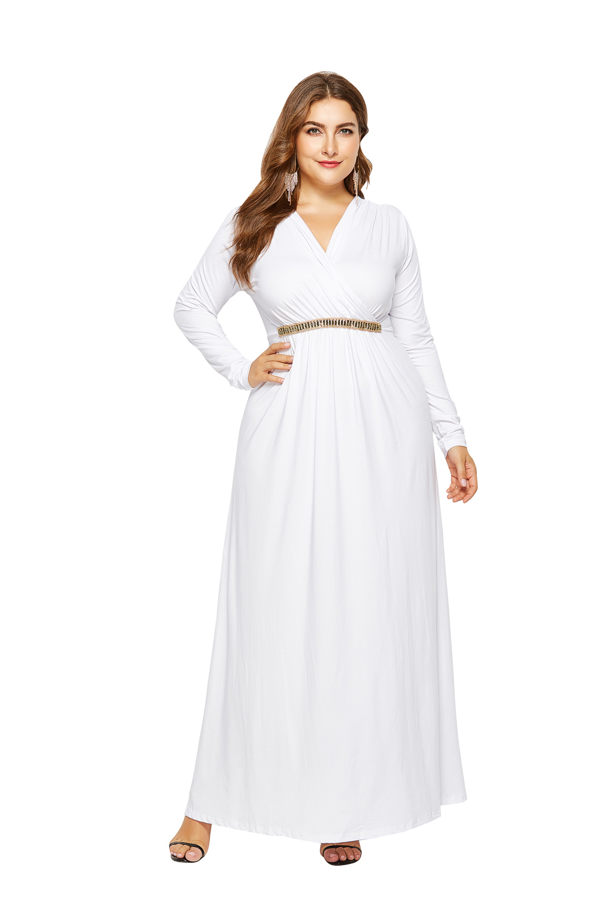 Women Maxi Dress V Neck Long Sleeve Elastic Waist Plus Size Long Formal  Evening Party Dress Off White