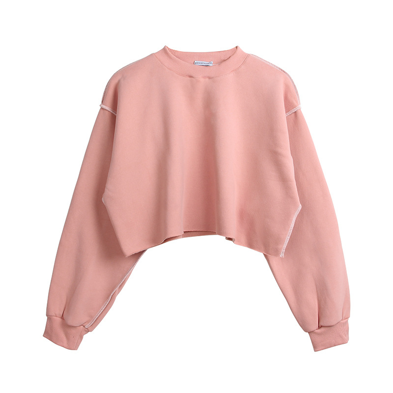 Women Crop Tops Autumn Winter Long Sleeve Pullover Casual Loose Short Fleece Sweatshirt pink
