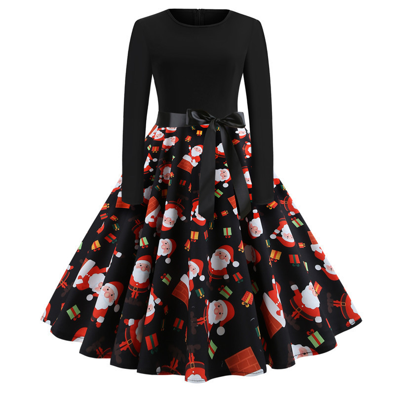 Women Christmas Dress Vintage Casual Long Sleeve Belted A Line Floral Printed Formal Party Dress 4#