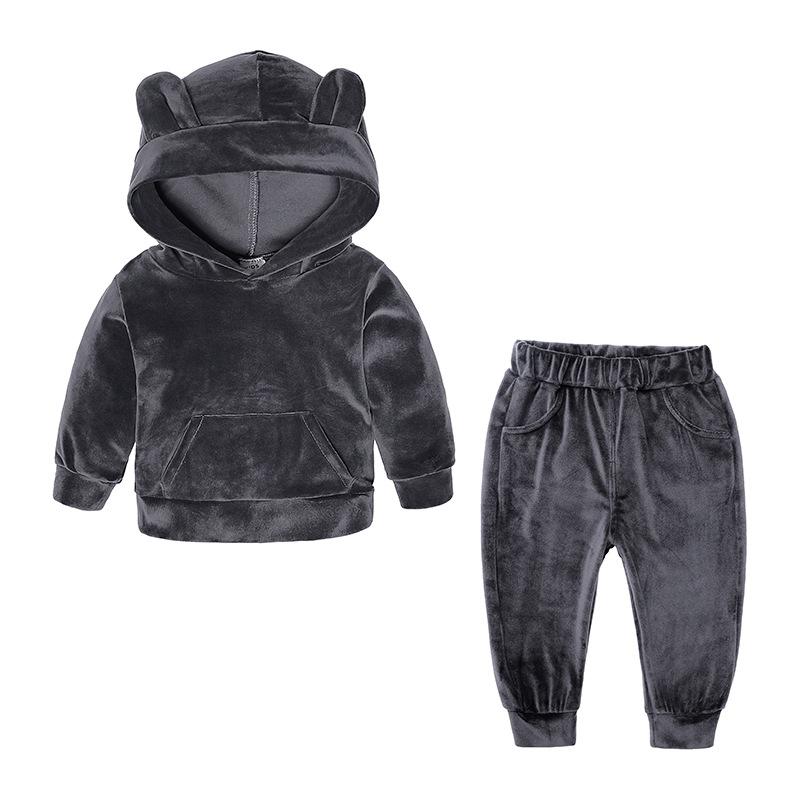 Baby Boys Girls Velvet Tracksuit Autumn Hoodie Long Pants Two Pieces Clothing Sets Children Outfits gray