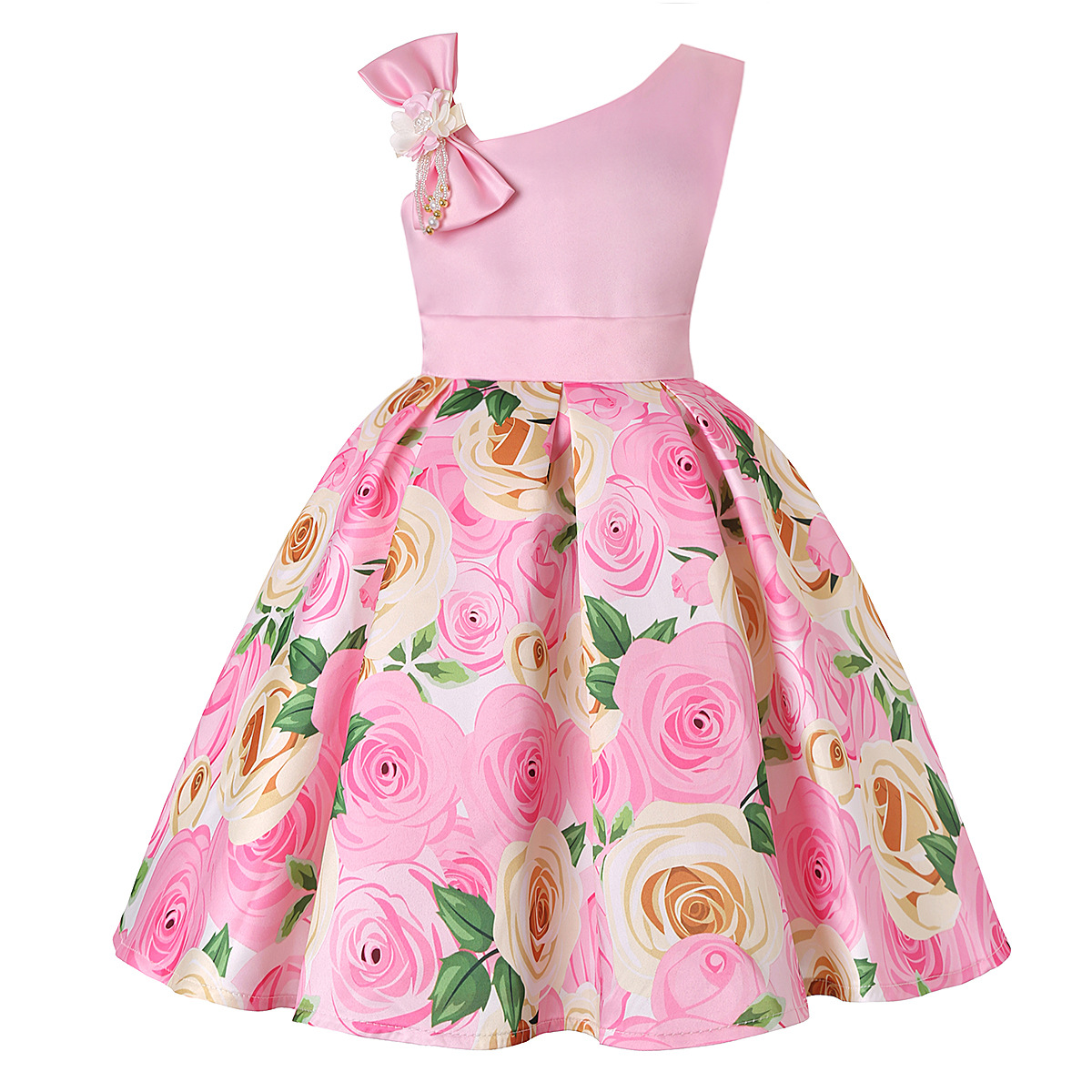 Girls Kids Chiffon Sleeveless Floral Tutu Dresses Casual Party Skater Dresses