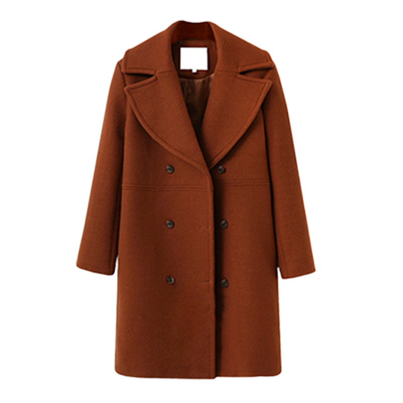 Women Woolen Trench Coat Autumn Winter Turn-down Collar Double Breasted Long Sleeve Casual Loose Long Jakcet brown