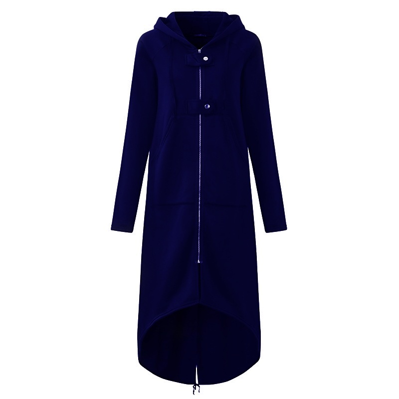 Women Sweatshirt Coat Autumn Winter Plus Size Casual Pockets Zipper Hooded Extra Long Jacket Outerwear dark blue