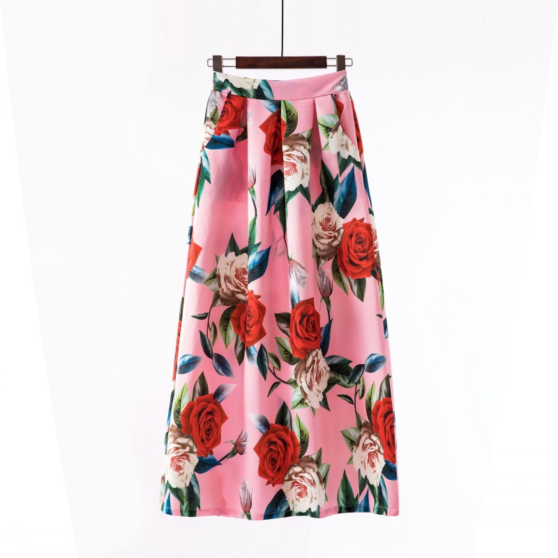 Women Floral Printed Maxi Skirt Vintage High Waist Floor Length Plus Size Pleated A Line Long Skirt 2#