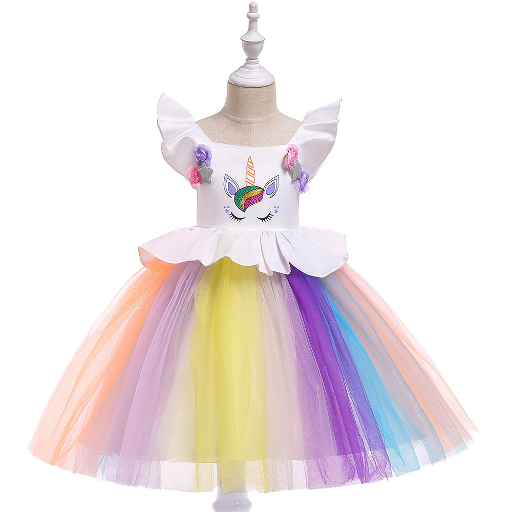 2c7c456fe4693 Unicorn Flower Girl Dress Rainbow Princess Wedding Birthday Party ...