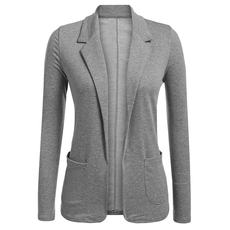 Women Blazer Coat Autumn Casual Long Sleeve Work Office Business Lady Slim Suit Jacket gray