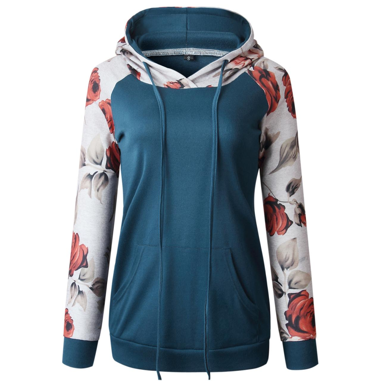 Women Hoodies Autumn Floral Printed Patchwork Long Sleeve Drawstring Hooded Casual Sweatshirt blue