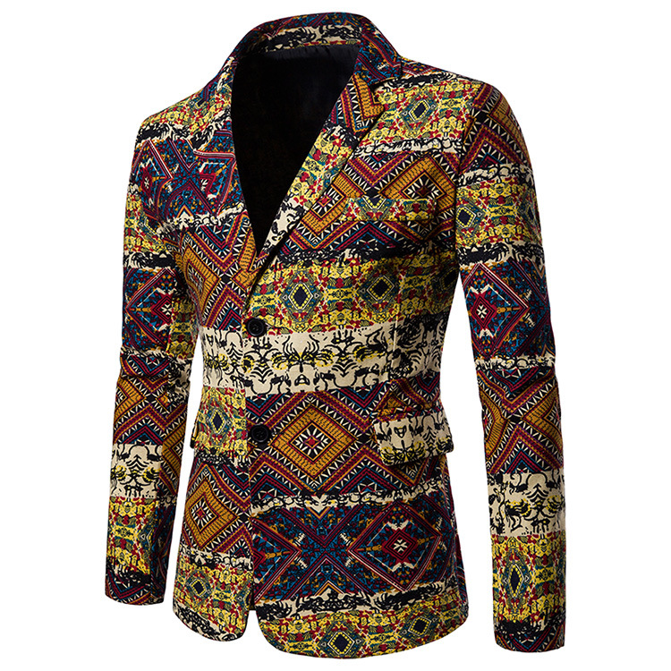 Men Blazer Coat Spring Autumn Africa National Style Printed Slim Fit Casual Male Suit Jacket X08