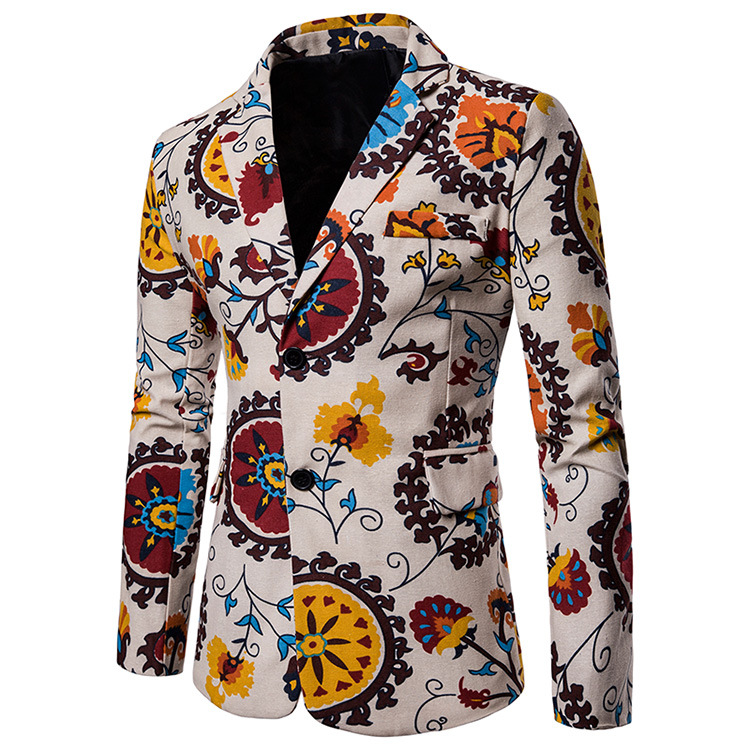 Men Blazer Coat Spring Autumn Africa National Style Printed Slim Fit Casual Male Suit Jacket X11