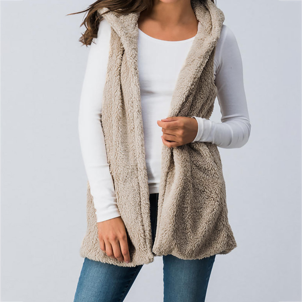 Women Fleece Waistcoat Winter Warm Open Stitch Hooded Vest Casual Sleeveless Coat Outerwear khaki
