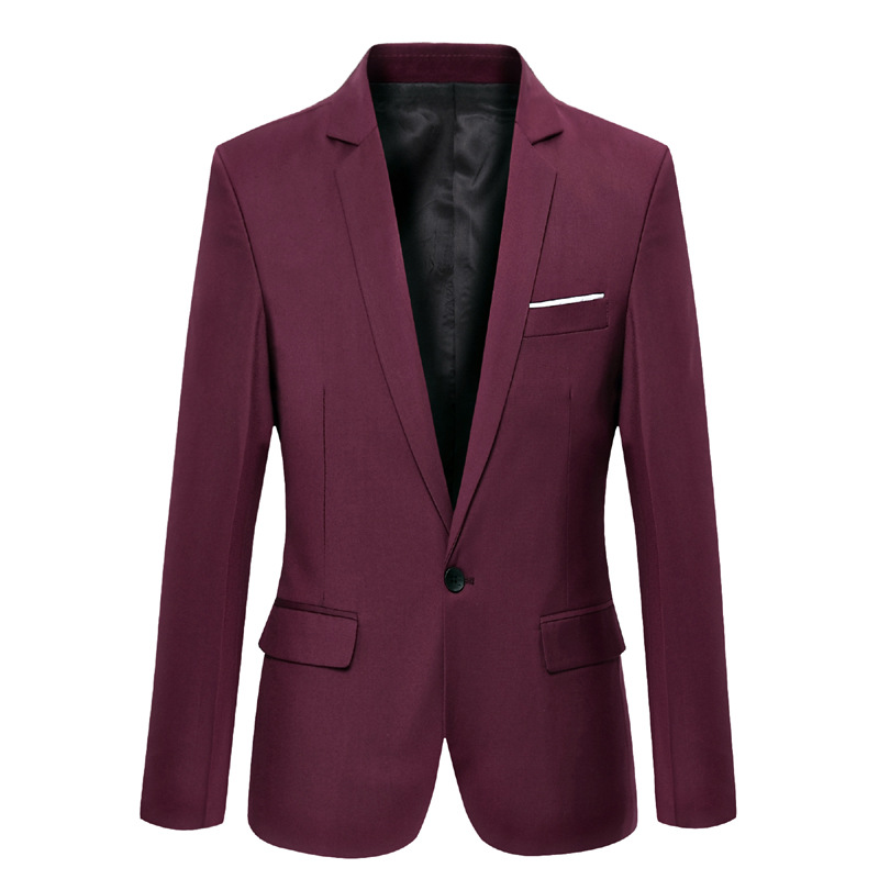 Men Blazer Coat Long Sleeve One Button Casual Business Slim Fit Suit Jacket crimson