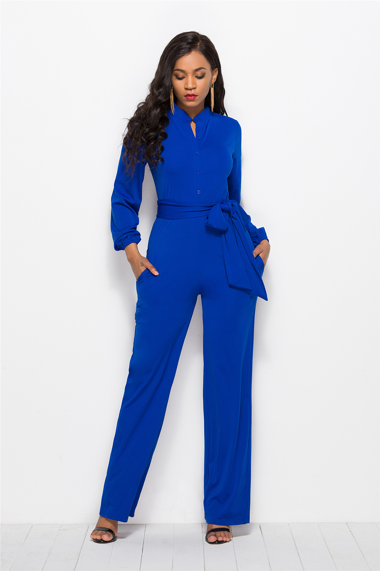 Women Wide Leg Jumpsuit Buttons Long Sleeve Streetwear Casual Loose Romper Overalls royal blue