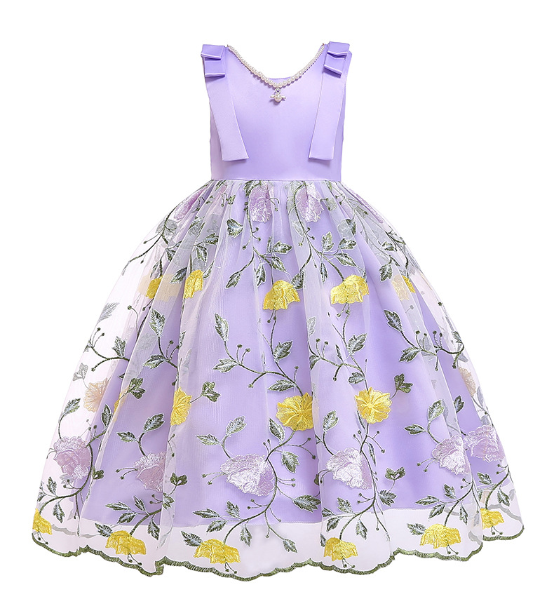 Embroidery Floral Flower Girl Dress Sleeveless Formal Perform Party Tutu Gown Children Clothes lilac