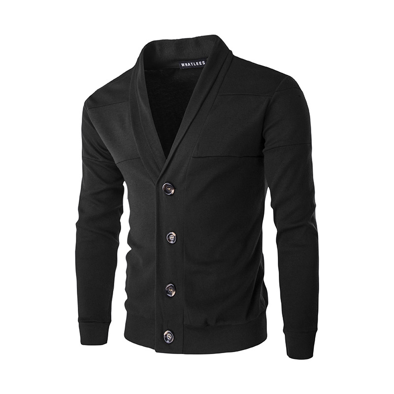 Men Cardigan Spring Autumn Single Breasted Long Sleeve Slim Fit Casual Sweater Coat black
