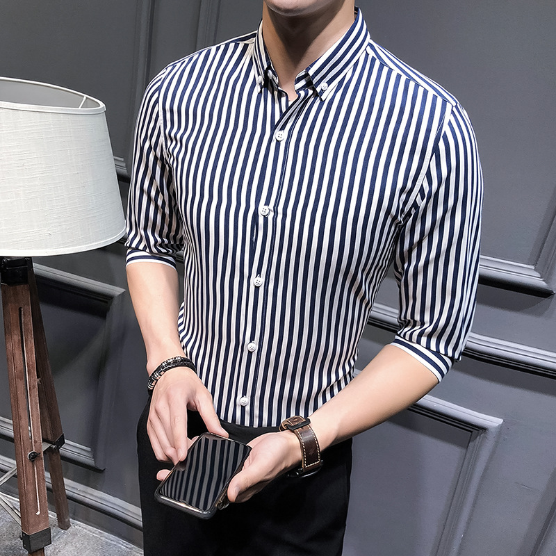 Men Striped Shirt Summer Turn-down Collar 3/4 Sleeve Casual Plus Size Slim Fit Shirt black