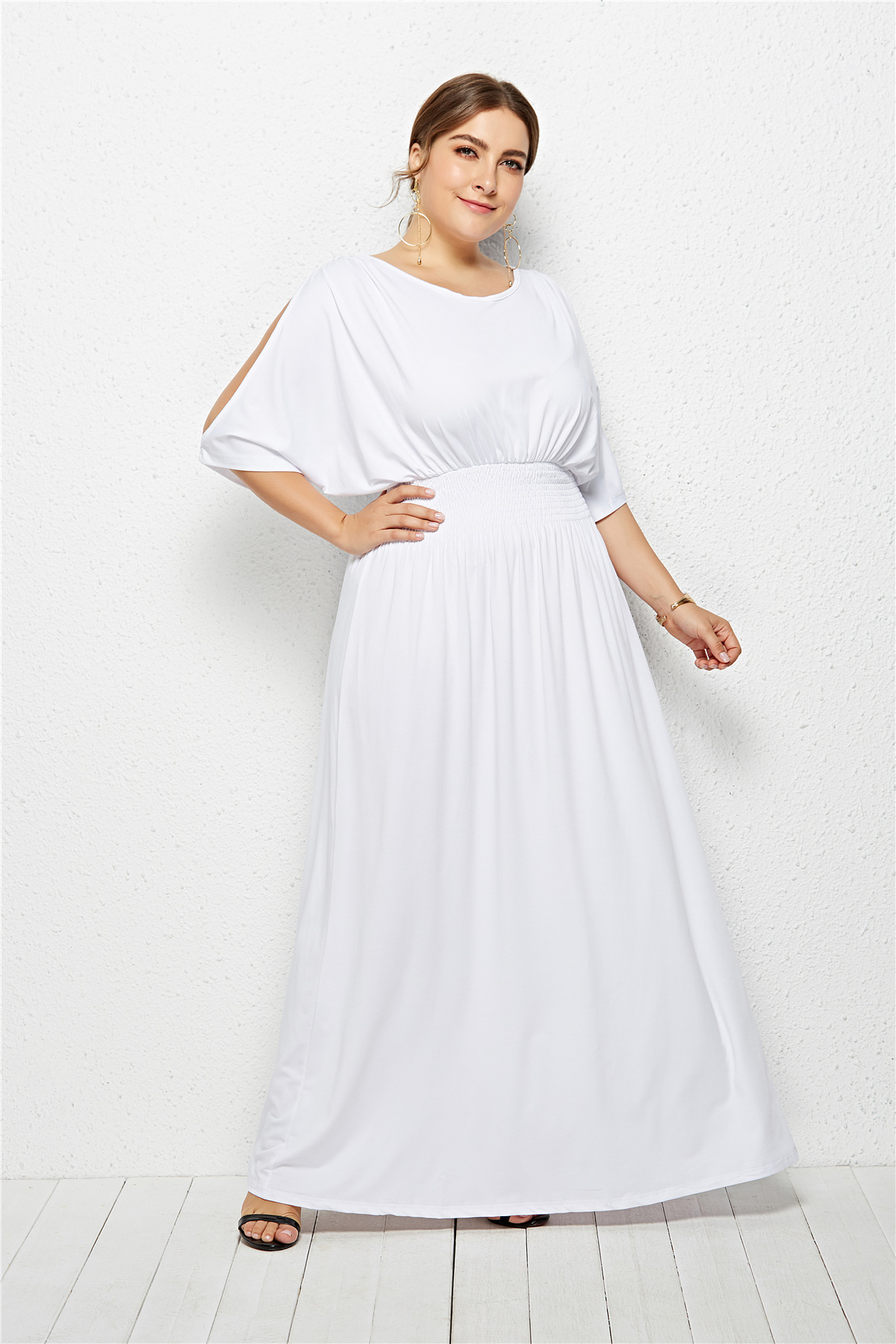 Women Maxi Dress Off Shoulder Batwing Half Sleeve Plus Size Long Formal  Evening Dress Off White
