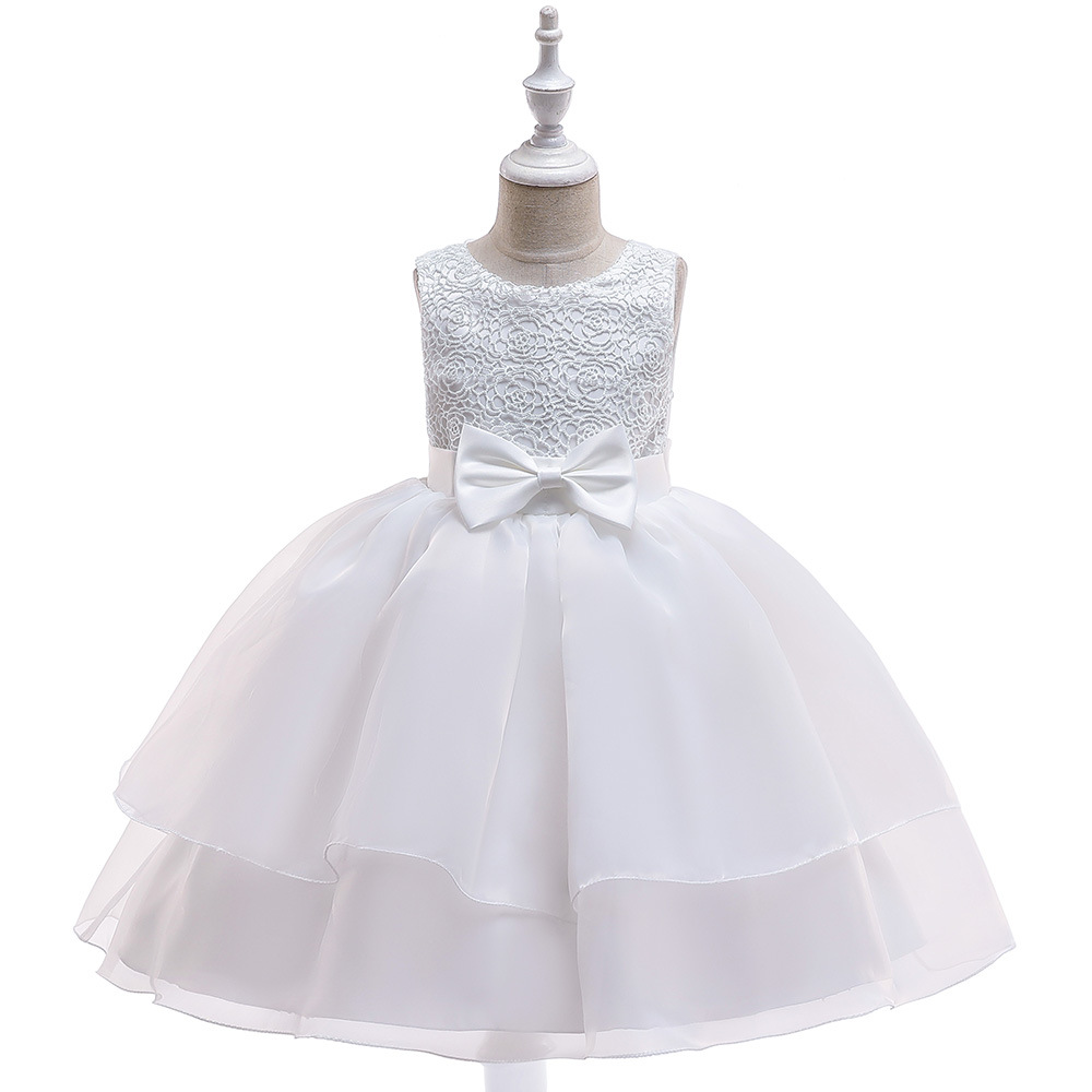 Lace Flower Girl Dress Sleeveless Layered Wedding Formal Birthday Cumunion Party Gown Children Clothes off white