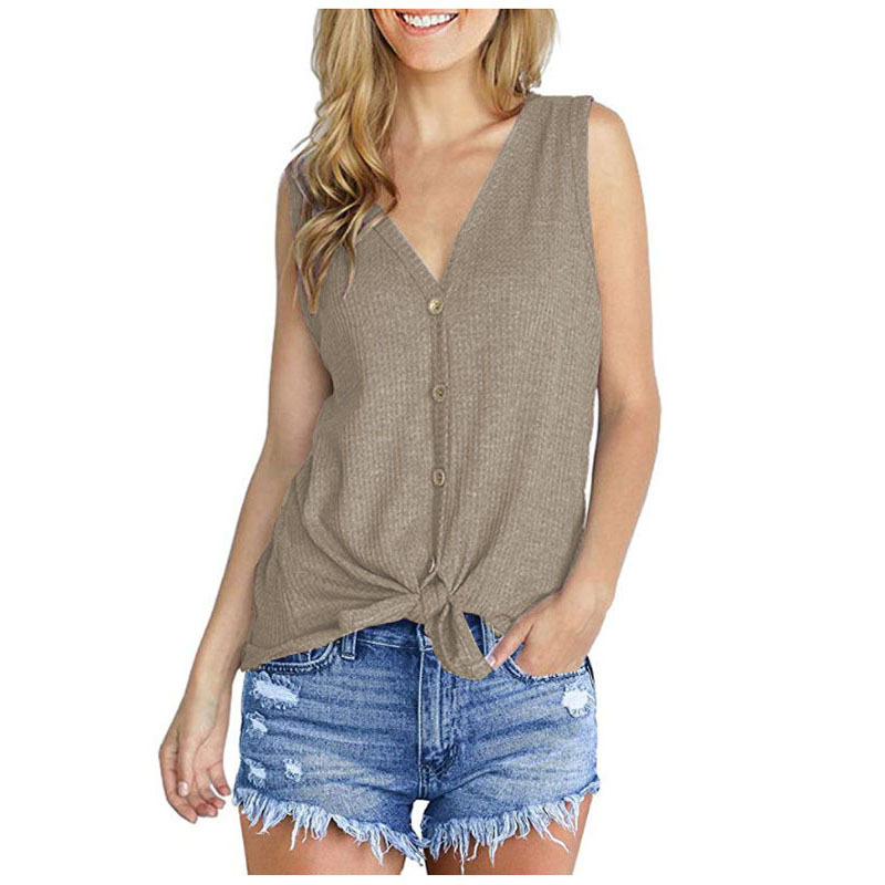 Women Knitted Vest V Neck Buttons Sleeveless Casual Loose Pullovers Cardigan Tops khaki