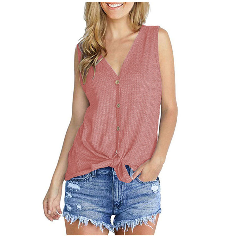 Women Knitted Vest V Neck Buttons Sleeveless Casual Loose Pullovers Cardigan Tops pink