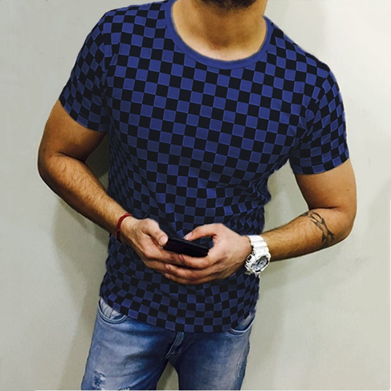 Men Plaid T Shirt O Neck Short Sleeves Summer Plus Size Casual Slim Fit T Shirt blue