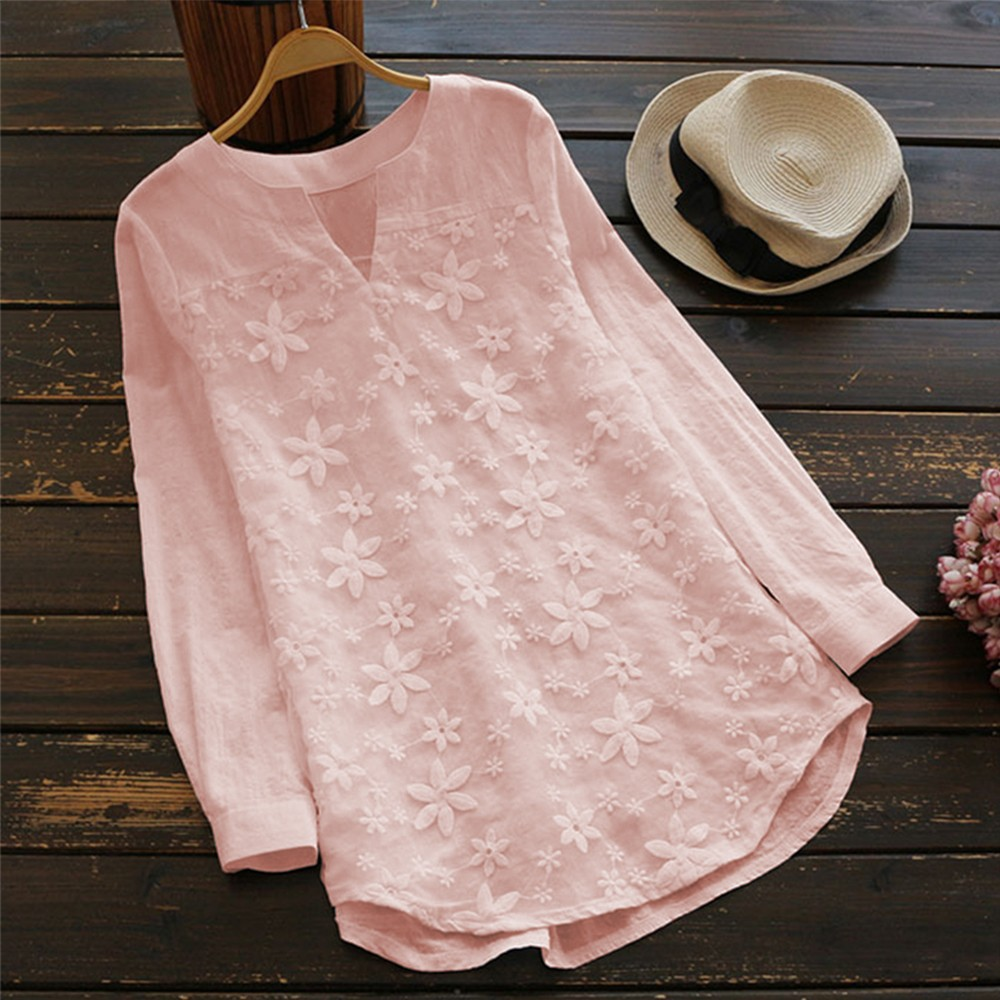 Women Embroidery Floral Lace Blouse V Neck Long Sleeve Casual Loose Plus Size Tops pink
