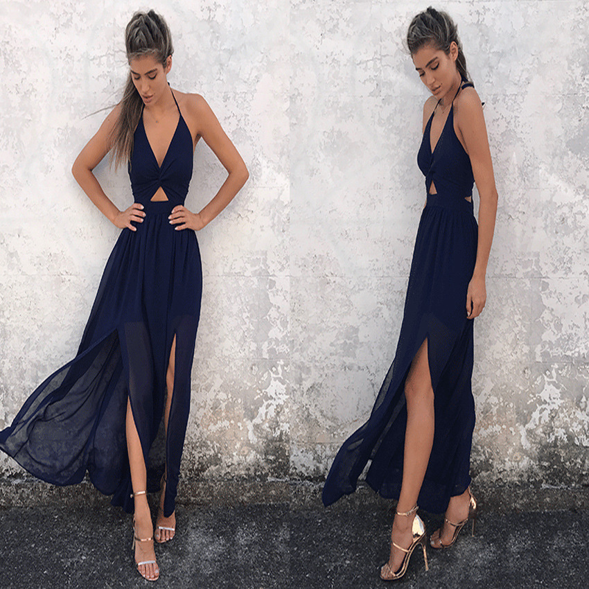 2370545b8a8c4 Women Floral Printed Maxi Dress Halter Backless Split Summer Boho Beach  Long Dress navy blue