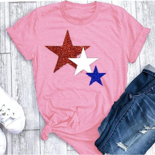 Women T Shirt Summer Short Sleeve O-Neck Casual Star Printed Plus Size Tee Tops pink