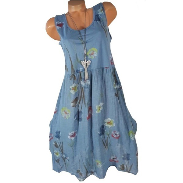 Women Floral Printed Dress Summer Casual Loose Boho Beach Plus Size Sleeveless Mini Sundress blue