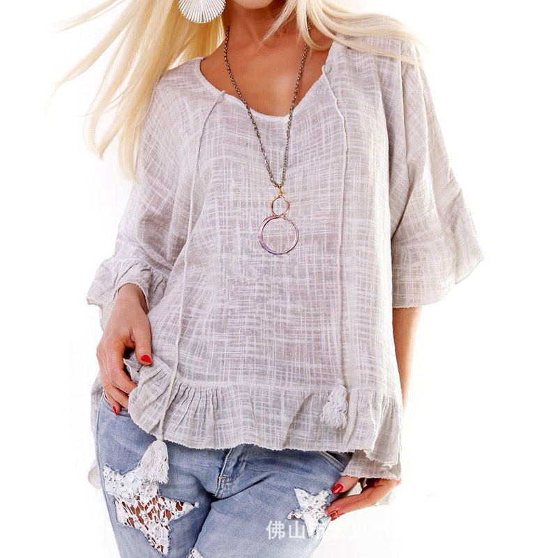 Women T Shirt Spring Summer Ruffles Half Sleeve Casual Loose Tee Tops gray