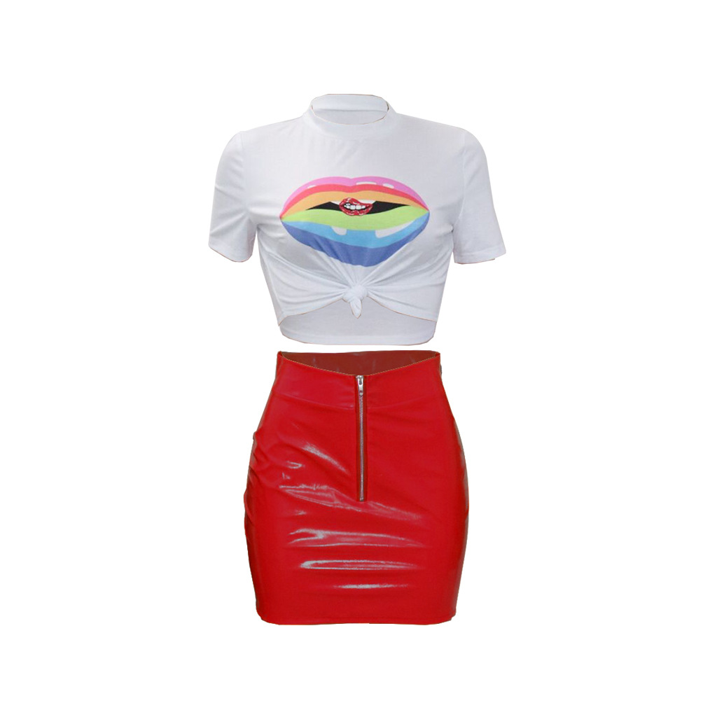 Women Tracksuit Summer Short Sleeve Crop Top+Mini Pu Leather Skirt Club Party Two Pieces Set red