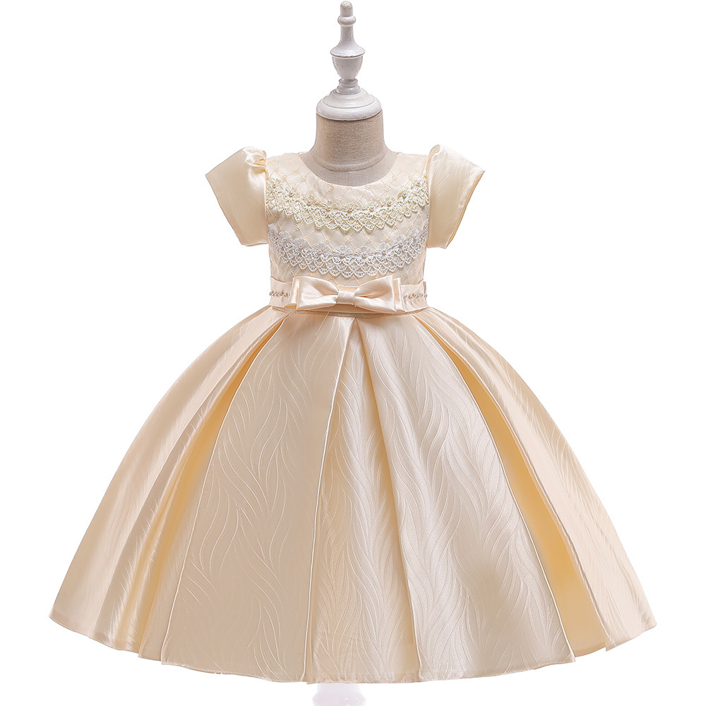 Lace Flower Girl Dress Short Sleeve Formal Birthday Party Ball Gown Children Kids Clothes champagne