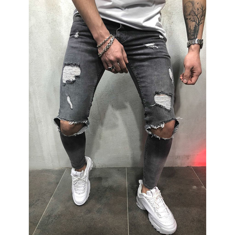 Men Skinny Jeans Trousers Mid Waist Ripped Hole Pencil Pants Casual Slim Denim Pencil Pants gray