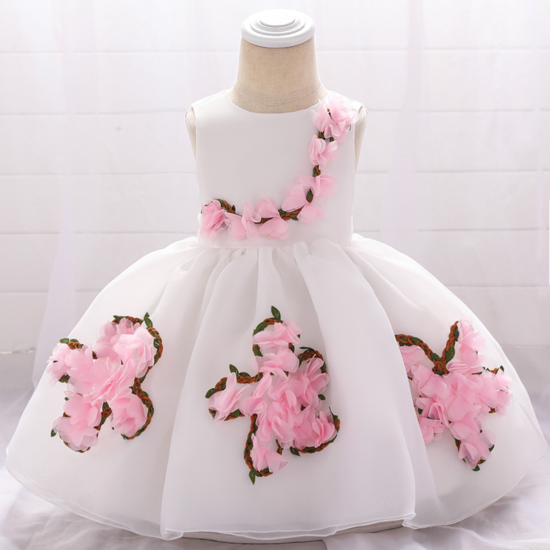 28395ea1e Sweet Flower Girl Dress Floral Newborn Christening Baptism Party Birthday  Tutu Gown Baby Kids Clothes white