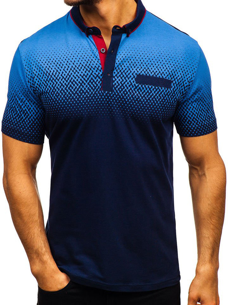 Men T-Shirt Summer Short Sleeve Turn-Down Collar 3D Printed Casual Slim Fit Polo Shirt navy blue