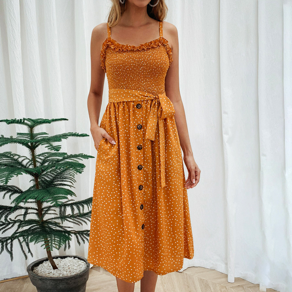 Women Polka Dot Dress Spaghetti Strap Buttons Summer Beach Boho Casual Midi A Line Dress yellow