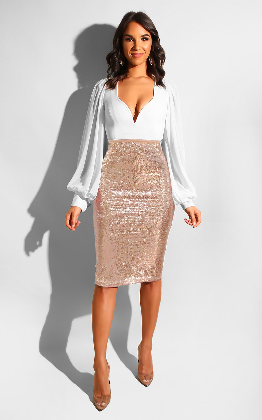 Women Sequined Midi Skirt High Waist Slim Bodycon Office Club Party Pencil Skirt apricot