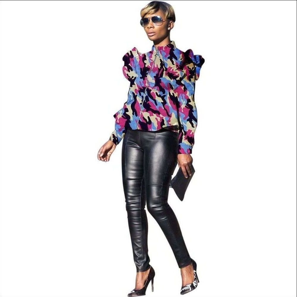 Women Camouflage Printed Coat Spring Fall Stand Collar Long Sleeve Ruffles Zip Jackets hot pink