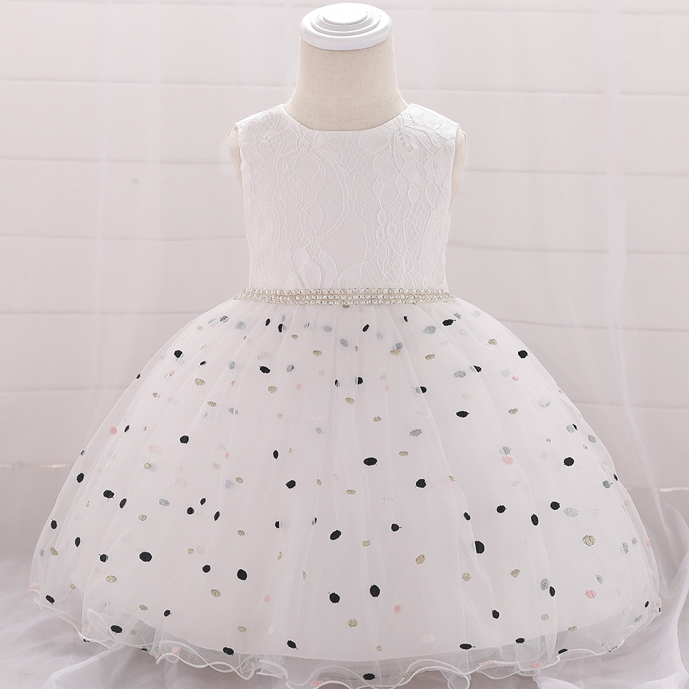 Polka Dot Flower Girl Dress Newborn Wedding Baptism Christening Birthday Party Gown Kids Children Clothes white