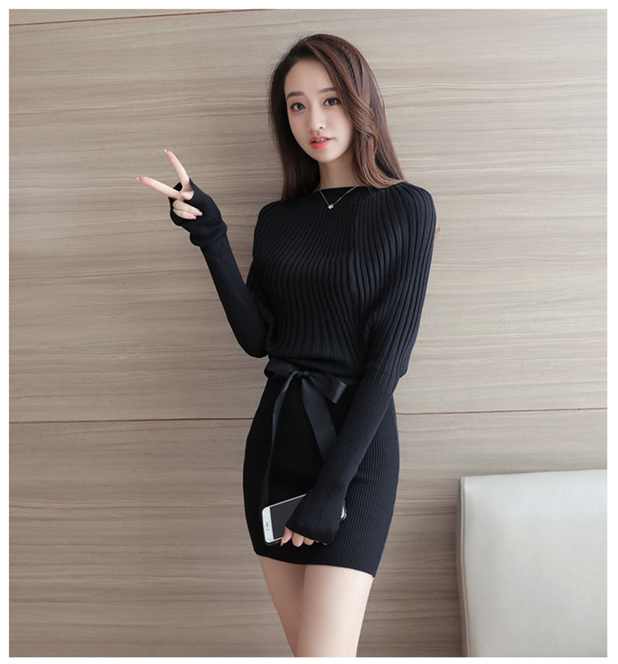 Womens Long Sleeves Belt Knitted Sweater Wrap Dress Slim Fit Fashion Skirt black