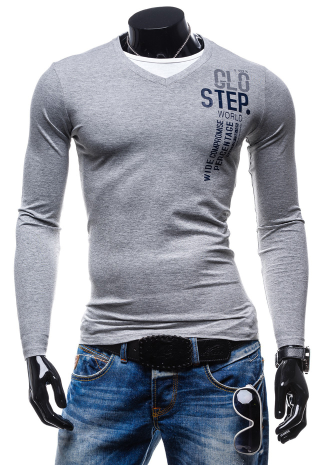 New spring men T-shirt unique letter print decoration V-neck long sleeve solid base clothing