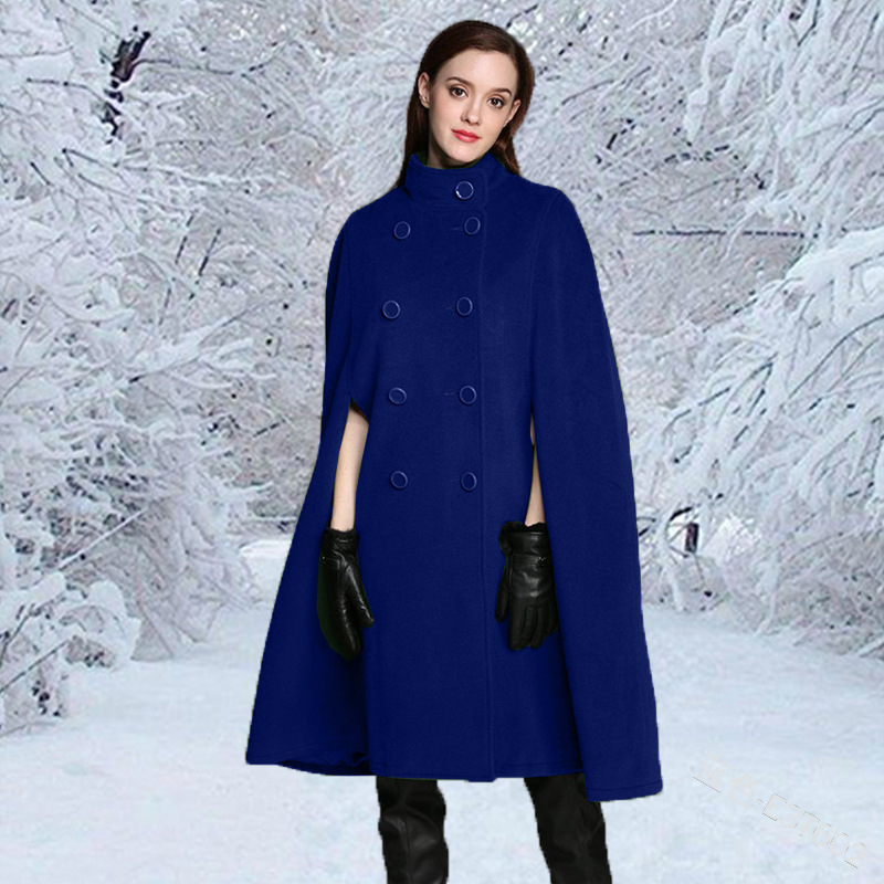 Women Stand-up collar double-breasted solid color sleeveless ladies temperament cape coat