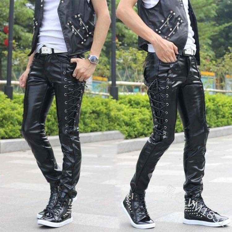 men fashion PU Pants Autumn winter Plus Size Solid Casual High Waist Trousers