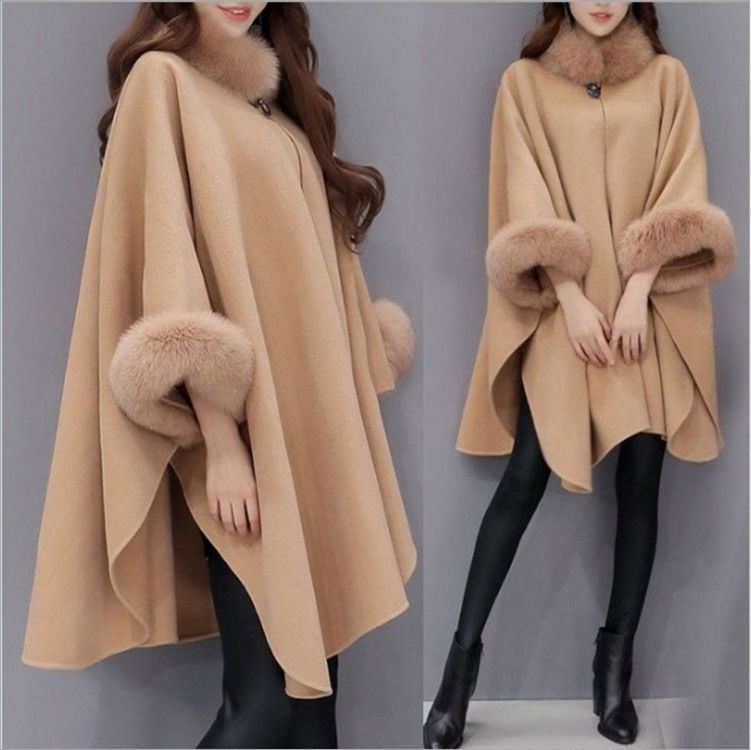 Women cape Coat 2019 Autumn Winter Women Coat Wide Loose Lapel Warm Outwear